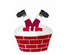 WILTON Set decorazione 24 pirottini Babbo Natale + 24 bastoncini e perline Natale