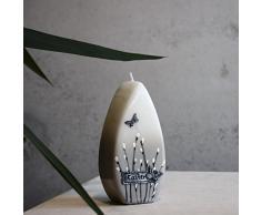 Cero pasquale 150 X 70 mm Easter Bianco Grigio candela decorativa