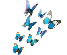 EOZY-3D Colorato Farfalla Adesivo da Parete Frigo Vetro Finestra 12pcs in set-Serie Blu