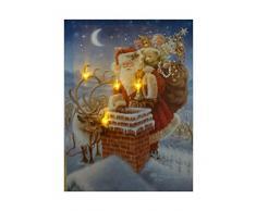 UK-Gardens Santa on The Rooftop Festive Foto di Natale con luci LED a Batteria con Timer FO Stampa su Tela 40 x 30 cm
