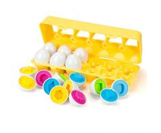 EXTSUD Uova di Pasqua Giocattolo Bambini Gioco di Abbinamento Colori Forme Giocattolo Educativo Uovo Artificiale Uova Finte Gioco Pasqua per Bambini