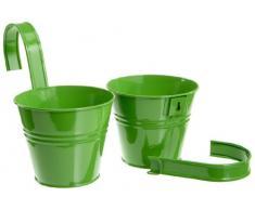 Siena Garden 722610 Set 2 vasi con supporto incluso, colore: Verde