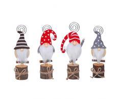 PRETYZOOM 4 Pezzi Gnomi Natalizi Segnaposto Porta Carte in Legno Porta Numero Bambola di Natale Memo Clip per Foto per Feste di Natale