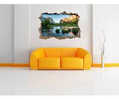bellissimo fiume davanti possente paesaggio di montagna muro passo avanti nel look 3D, parete o in formato adesivo porta: 62x42cm, autoadesivi della parete, autoadesivo della parete, decorazione della parete