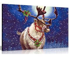 Renna di Natale tela da parete stampa, A4 31x20cm (12x8in)