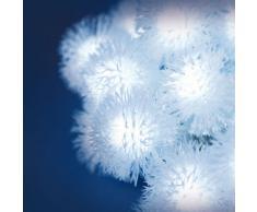 Catena a batteria 5,8 m, 30 Snow Balls, led bianco freddo, cavo trasparente, luci di Natale, luci a batteria