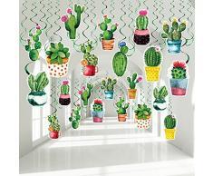 30 Decorazioni di Cactus Appese a Turbinii, Spirale Foil per Soffitto ad Acquerello Festa Messicana Fiesta Stelle Filanti Per Piante Compleanno Festa Hawaiana Foresta Bosco e Baby Shower