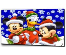 "Plush Prints Disney Mickey Mouse in tela, con stampa natalizia, Bianco/Nero, 12"" x16"""