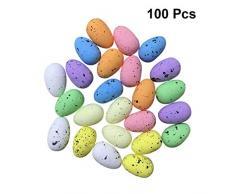 Amosfun - Uova di Pasqua artificiali, 100 pezzi, in schiuma, uova di pollo colorate, giocattolo per Pasqua, decorazione per la casa e il giardino