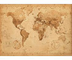 GB Eye Ltd, World Map, Antique Style, Poster Gigante (100 x 140 cm)