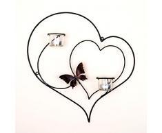 DanDiBo Portacandele da parete, a forma di cuore, in metallo, altezza: 39 cm, nero