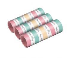 amscan 9903734 - Confezione da 3 Stelle filanti Happy Birthday Pastel