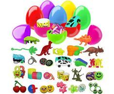 100 uova giocattolo assortite colorate - Perfetti per feste di Pasqua, caccia alluovo, bomboniere, regalini, ricompense di classe e altro