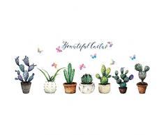 Cactus wall sticker piante in vaso decalcomania della parete piante verdi tropicali novità decorativa vinile murale di arte murale per finestra di vetro cabinet soggiorno ufficio camera dei bambini