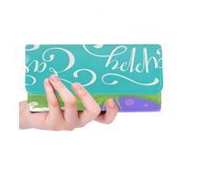 Cartolina dauguri su ordinazione di Pasqua felice su ordinazione unica sveglia bianca Trifold Wallet Borsa lunga Porta carte di credito Borsa