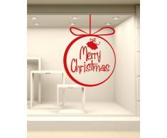 NT0291 Adesivi Murali - Palline delle feste - Vetrofanie natalizie - 90x130 cm - argento e oro - Decorazioni vetrine per Natale, stickers, adesivi