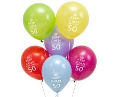Neviti Palloncini Keep Calm - 50mo compleanno!, Confezione da 8