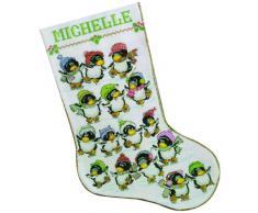 Design Works - Kit per punto croce: calza natalizia con decorazione a pinguini sul ghiaccio, in feltro, multicolore