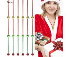 LOCOLO 36 collane di campana di Natale con campanelle per decorazioni natalizie, cappelli e feste
