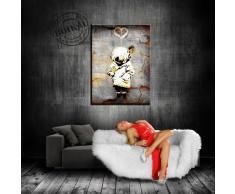 "'Fotoleinwand24 - Stampa su tela ""Banksy"" Graffiti 100 x 70 cm K. Poster. # 662 tela già su telaio. Pop Art dipinto stampe artistiche da parete, immagini, immagini per decorazione - decorazione/immagini da parete Top 200 ""Bansky Streetart"