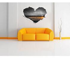 cigni bianchi nella / forma di cuore bianco tramonto nero in formato aspetto, parete o adesivo porta 3D: 92x64.5cm, autoadesivi della parete, Stickers murali, Wanddekoratio