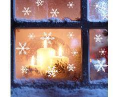 108 Vetrofanie Fiocchi di Neve per Natale, Fiocco di Neve Stickers da Vetro Finestra Vetrina Natale Decorazione - Fantastiche Adesivi Statici in PVC (Bianco)