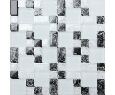 10 x 10 cm modello. Vetro mosaico piastrelle motivo pietre in tre dimensioni in bianco e nero con fratturata, chiaro e opaco vetro ottica MT0076 modello