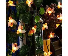 Ape Luce Stringa,KINGCOO Impermeabile 30Led Bumble Bee Lampada Solare Luci Corda Catene Luminose Esterno per Decorazione Natalizia Giardino (Bianco Caldo)