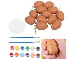 Speyang Uova di Pasqua in Plastica, Uova di Plastica Colorate con Nastro Colorato, 12 Pezzi Uova Pasquali da Appendere Fai da Te di Pasqua per La Decorazione e Regalo