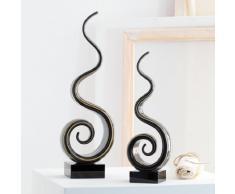 Leonardo 064111 Twist - Scultura in vetro, 35 cm, colore: Beige/Grigio