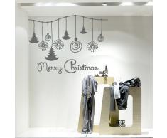 NT0012 Adesivi Murali - Filo decorazioni - Vetrofanie natalizie - 120x85 cm - Argento - Decorazioni vetrine per Natale, stickers, adesivi
