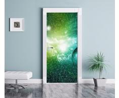 Stardust e gas foschia in un effetto matita arte lontana galassia come Murale, Formato: 200x90cm, telaio della porta, adesivi porta, porta decorazione, autoadesivi del portello