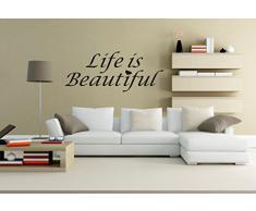 "wall stickers Adesivo murale ""Life is beautiful"""" frasi, desideri, love - (53cm x 22cm) - adesivi murali decorazioni interni by tshirteria"