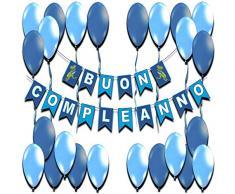Addobbi Festa Blu Bambino Scritta Buon Compleanno Festoni Compleanno Kit Feste Decorazioni Compleanno Bambini 1 Anno 2 3 4 5 a 10 Anni Striscioni Festone Dinosauro Palloncini Set Happy Birthday
