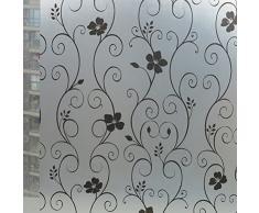 WINOMO Adesivo pellicola finestra Adesivo pellicola smerigliato fiori neri 100x45cm