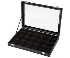 TecTake Scatola espositore per gioielli monili portagioie portagioielli box 24 posti - nero -