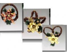 Idea Natale: ghirlanda con fiore 3 soggetti assortiti: fiore (18cm) corona (16cm) cuore (20cm)