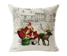 Longra Natale Piazza Lino tiro di lino Federa Cuscino decorativo