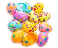 Youool Uova di Pasqua, Uova di Pasqua Colorate in plastica Stampata Uova assortite Fai-da-Te per Bambini, per la Festa di Caccia di Pasqua (12 Pezzi)