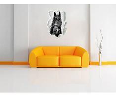 Monocrome, cavallo marrone Papier aspect 3D, la taille de la vignette mur ou de porte: 92x62cm, stickers muraux, sticker mural, décoration murale