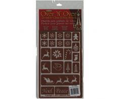 Armour Products-Over NOver in plastica Riutilizzabile Stencils 5 cm x 8 cm, Motivo: Palline di Natale Vacanze
