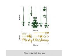 NT0216 Adesivi Murali Vetrofanie natalizie Pendenti Albero e Stelle - 60x70 cm - Verde scuro/oro - Decorazioni vetrine per Natale, stickers, adesivi