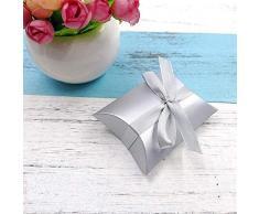 JZK 50 Argento scatolina bomboniera scatola portaconfetti segnaposto per matrimonio compleanno Natale battesimo comunione nascita laurea