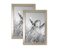 Set da 2 cornici per foto da 20x30 cm argento moderno in legno massiccio con lastra in vetro e accessori / cornici per foto