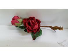 Set 12 pezzi fiore pick bocciolo con rosellina, x applicazione albero di NATALE, segnaposto tavolo, panettone. (amop200) (ROSSO)