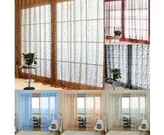 Tenda Tulle Motivo Fiore Floccato Decorazioni Interni Finestre Letto, Misura 100*200cm - Blu
