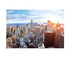 XXL Poster New York City Skyline - Decorazioni pareti Tramonto Attico Manhattan America USA Deco Big Apple NYC | Poster da parete Fotomurales Decorazione da parete Immagine by GREAT ART (140 x 100 cm)