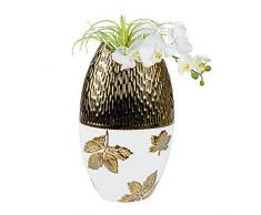Formano - Vaso Decorativo a Forma di Foglia, Anticato, 25 x 40 cm, Color Oro Panna Anticato