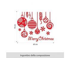 NT0102 Adesivi Murali - Pendenti Merry Christmas - Vetrofanie natalizie - 85x70 cm - rosso - Decorazioni vetrine per Natale, stickers, adesivi