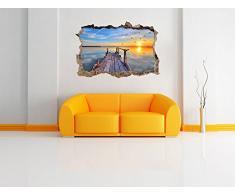 fantastica vista sul mare al tramonto muro passo avanti nel look 3D, parete o in formato adesivo porta: 92x62cm, autoadesivi della parete, autoadesivo della parete, decorazione della parete
